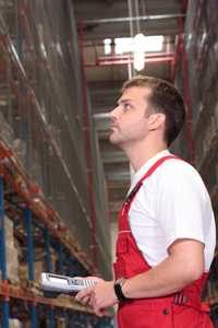 Stock control man in warehouse